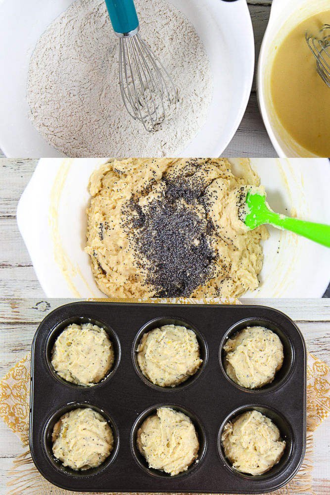 Process shot collage showing how to mix the muffins and put them in the muffin tin for baking.
