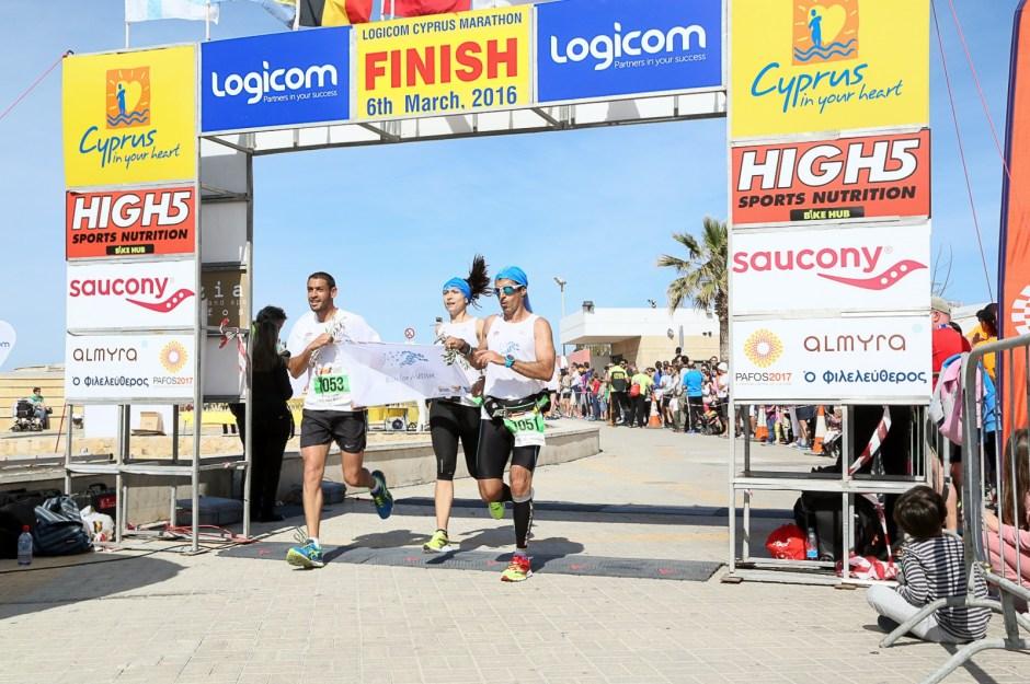 Apollon finishing at the Logicom Cyprus Marathon
