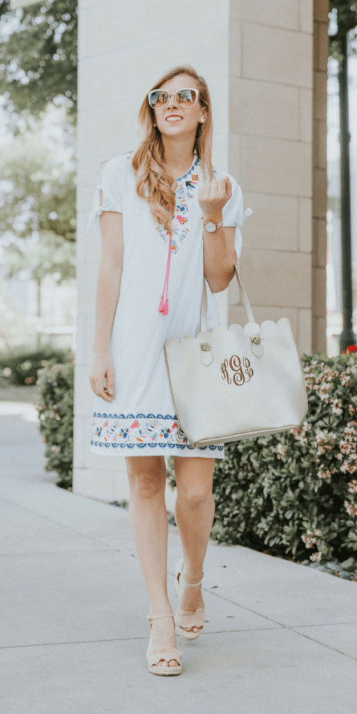 White Embroidered Dress | Marley Lilly | Monogram bag | Gold tote bag | neutral wedges | summer outfit | spring style | spring outfit | Running in Heels