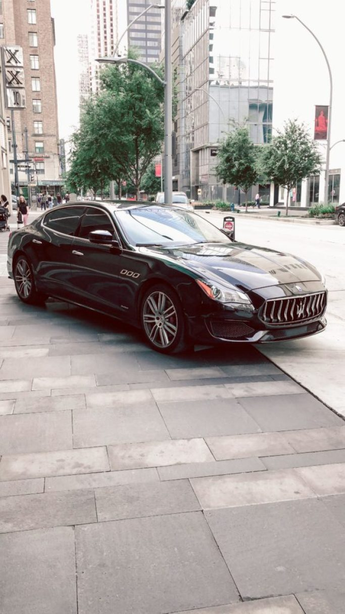 Where to stay in Houston: Hotel Alessandra   black Maserati sits outside of the hotel