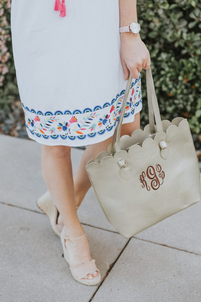 Embroidered White Dress and Monogrammed gold bag for Summer