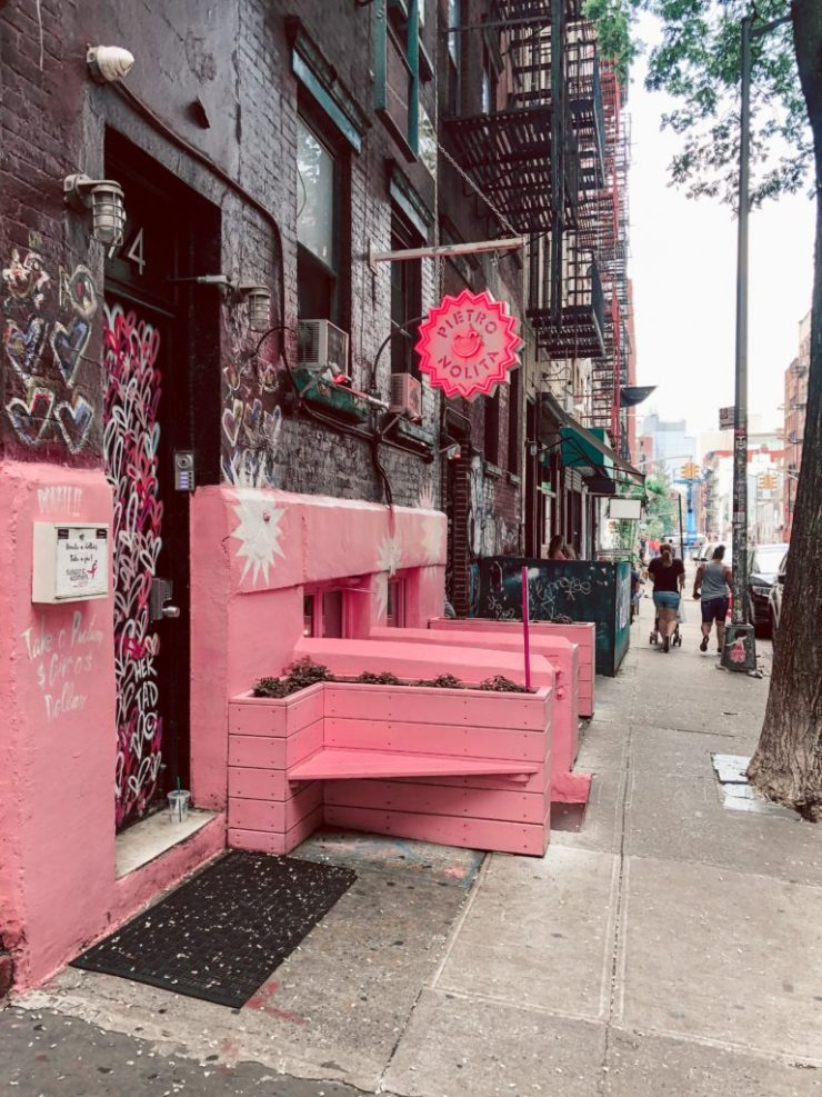 Where to eat in NYC, Pierto Norte, Pink as Fuck, pink outside of the pink cafe