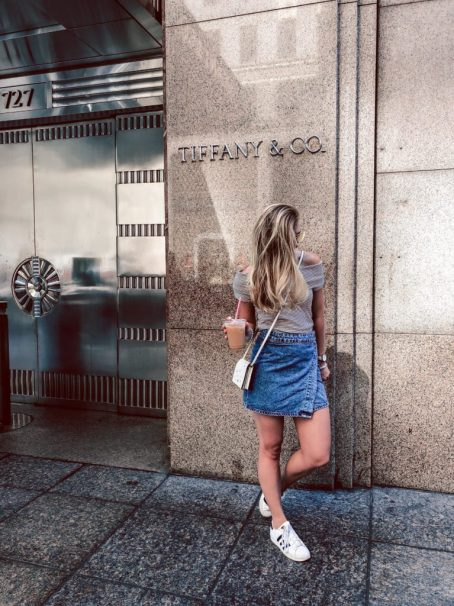 Where to eat in NYC, Milk iced coffee in front of TIffany's, having breakfast at tiffanys