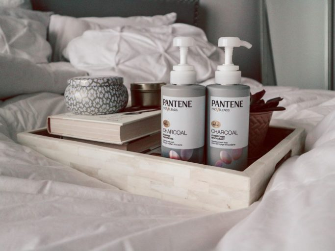 Pantene Charcoal Collection on bed