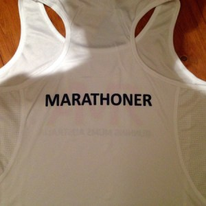 Racer Back White Race Singlet - Marathoner Print on Back