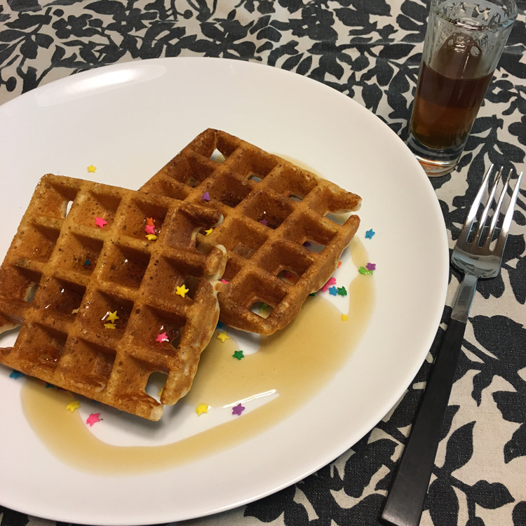 Happy Birthday! Cake Batter Protein Waffles | Meatless Monday | Running on Happy