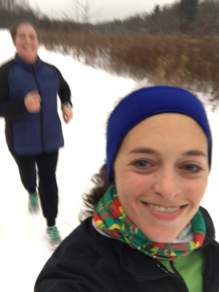 Snowy run with friends