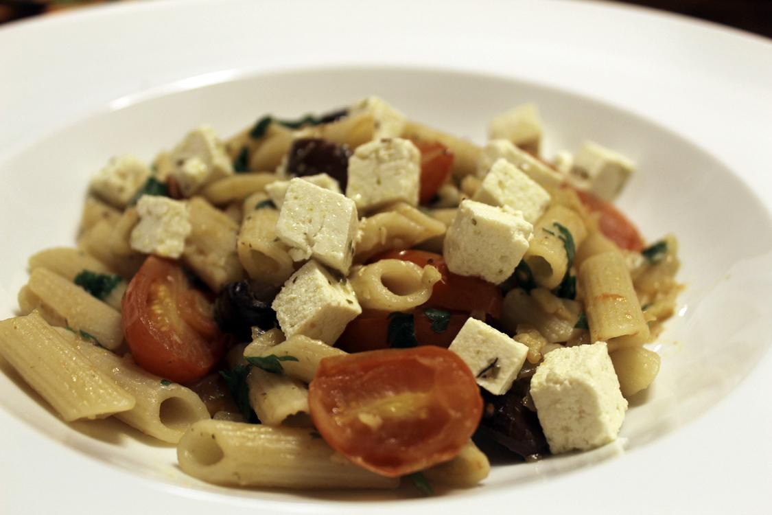 Mediterranean Pasta with Tofu Feta | Gluten-free, Vegan | Meatless Mondays | Running on Happy