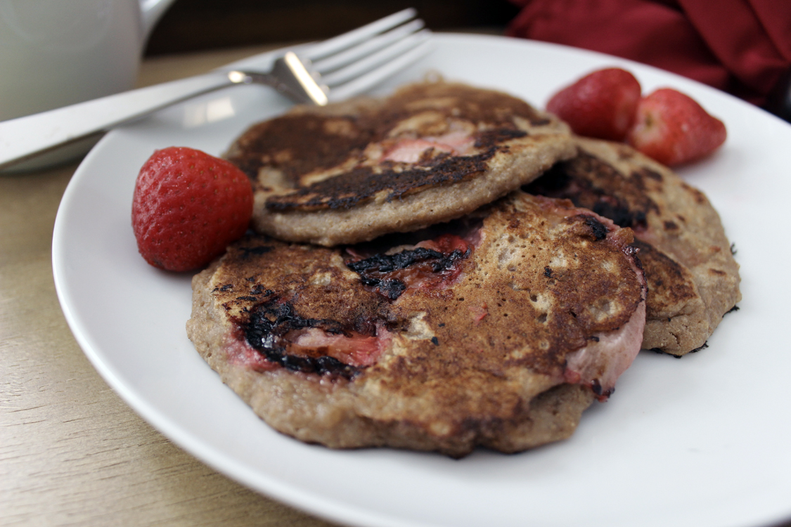 Sugar-free Valentine's Day pancakes from scratch are perfect for a Val Day treat. They're sweetened with strawberries red is the color of love! -Running on Happy