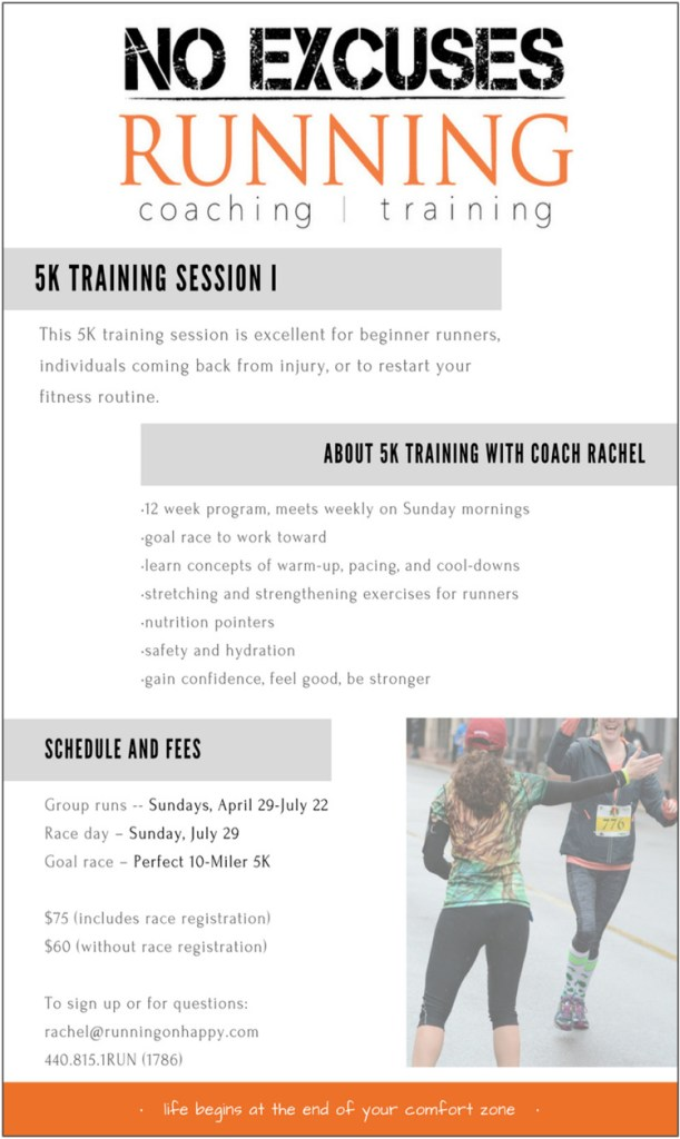 5K Training with Coach Rachel | No Excuses Running | Running on Happy