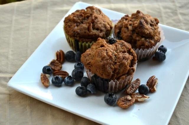 Vegan Blueberry Pecan Muffins | Running on Real Food