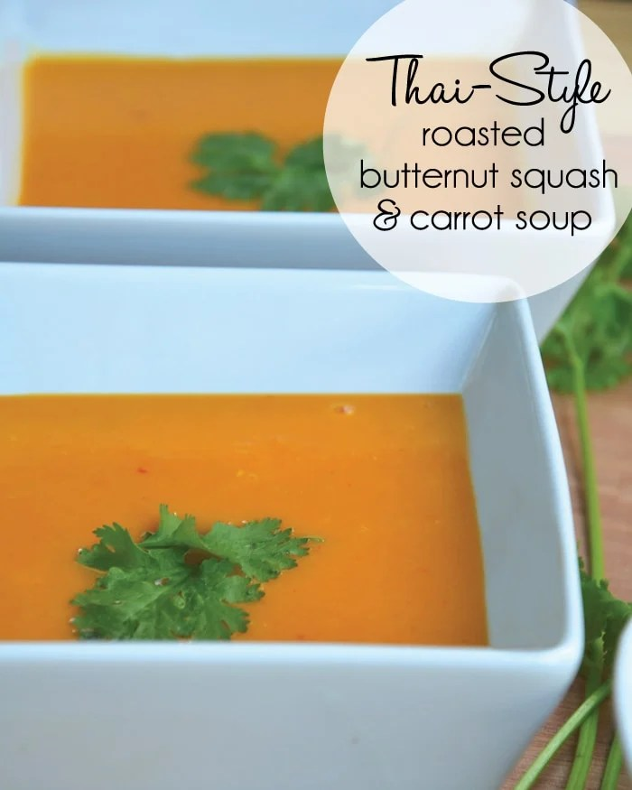Thai-Style Roasted Butternut Squash and Carrot Soup. Easy to make, healthy and perfect for Fall. Vegan and Gluten-Free.