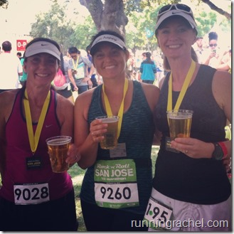 rock n roll san jose, half marathon, runningrachel, post race celebration