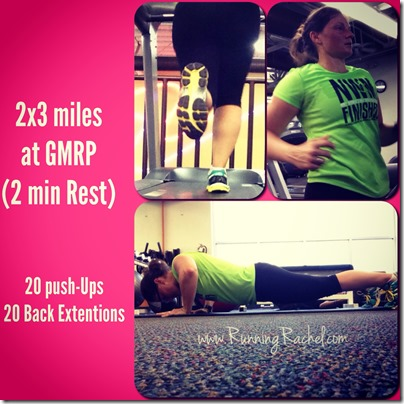 running wod, 2x3 miles at gmrp