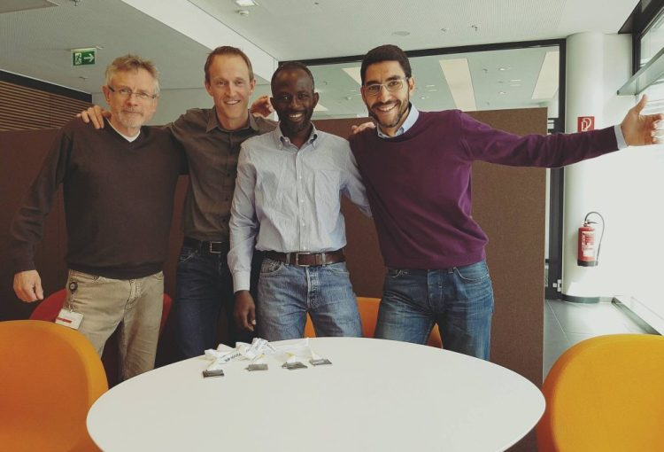 Düsseldorf Marathon 2016 dream team. From left to right: Kieran, Chris, Samba and myself.
