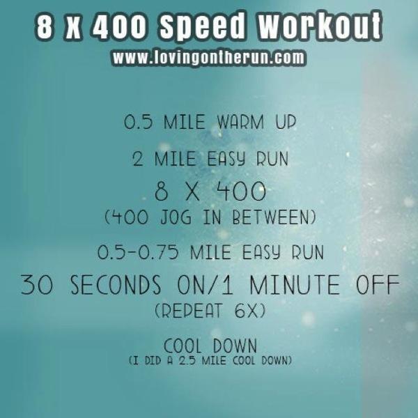 8 x 400 speed workout