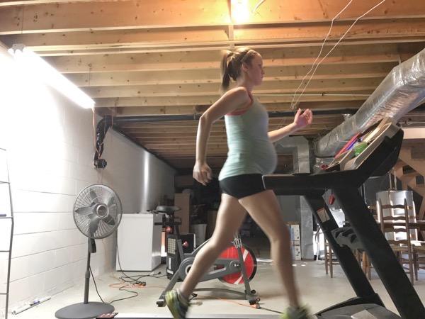 Treadmill running during pregnancy.