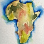 Watercolour painting. Cradle of Mankind