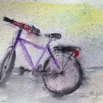 Watercolour painting. Rode Home In The Rain (RWB0014)