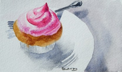 Watercolour painting. Pretty in Pink (SWA001) Artist: Sharon Whitley
