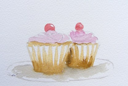 Watercolour painting. Two Cupcakes 1 (EVA003). Artist: Eileen Valder