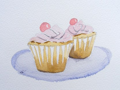 Watercolour painting. Two Cupcakes 2 (EVA004). Artist: Eileen Valder