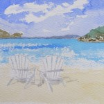 Watercolour painting. Day on the Beach (EVA005). Artist: Eileen Valder