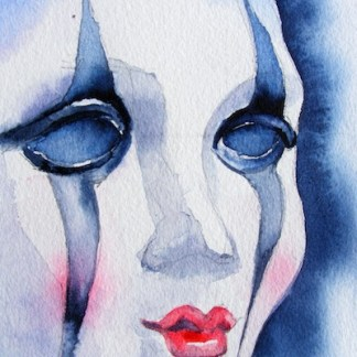 Watercolour painting. Masked (SDR008). Artist: Sabine De Rode