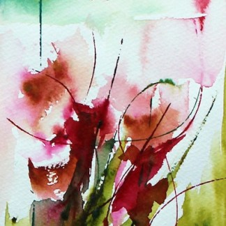 Watercolour Painting. Red Flowers 1 (VPM001) Artist: Veronique Paiser Moyen