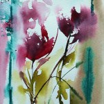 Watercolour painting. Red Flowers 5 (VPM005) Artist: Veronique Piaser-Moyen