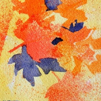Watercolour painting. Leaf Prints (CAM005). Artist: Claude Ambollet