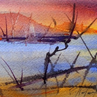 Watercolour painting. Fiery Sky (CAM011). Artist: Claude Ambollet