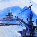 Watercolour painting. Hailing Across the Sound (CAM015). Artist: Claude Ambollet