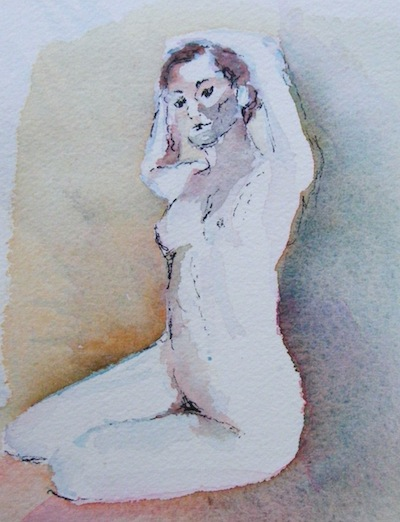 Watercolour painting. Nude Sitting III (DMA004). Artist: Dana Mallon