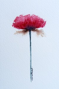Watercolour Painting. Poppy (IOA016). Artist Ingrid Ormestad