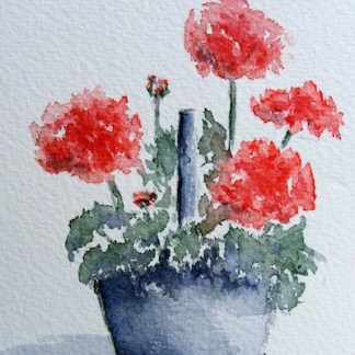 Watercolour painting. Bright Basket (IOA021). Artist: Ingrid Ormestad