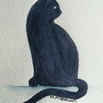 Watercolour painting. Cat Focus (IOA037) Artist: Ingrid Ormestad