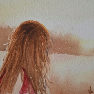 Watercolor painting. Girlhood Dreams (NBA003) Artist: Nicole Barros