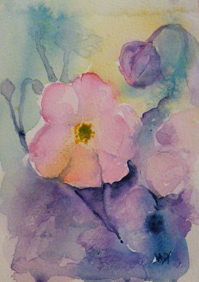 Watercolour painting. Japanese Anemone (RWB0072). Artist: Vandy Massey