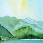 Watercolour Painting. Derwent Water from Friars Crag (POB003) Artist: Polly Birchall