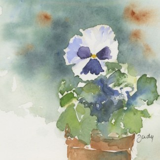 Watercolour painting. JBA006 Pansy Pot. Artist: Judy Barends