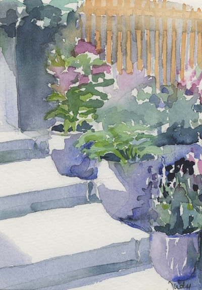 Watercolour painting. JBA021 Blooming Stairs. Artist: Judy Barends