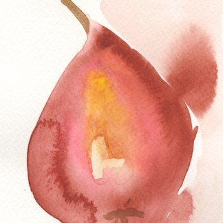 Watercolour painting. LBA054 Red Pear. Artist: Lori Bentley