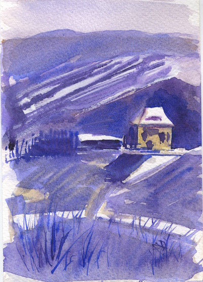 Watercolour painting. RWB0157 Winter Fields. Artist: Vandy Massey