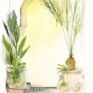 Watercolour painting. RWB0214 Moroccan Doorway. Artist: Vandy Massey