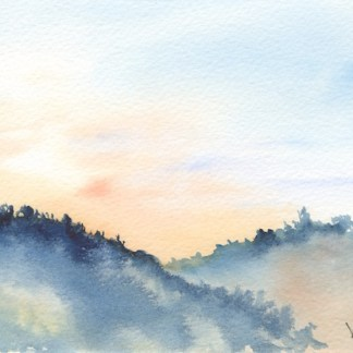 Watercolour painting. RWB0196 - Lakka Sky 2.