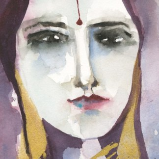 Watercolour painting. VMP009 - Indian Lady - Maroon. Artist: Veronique Piaser-Moyen