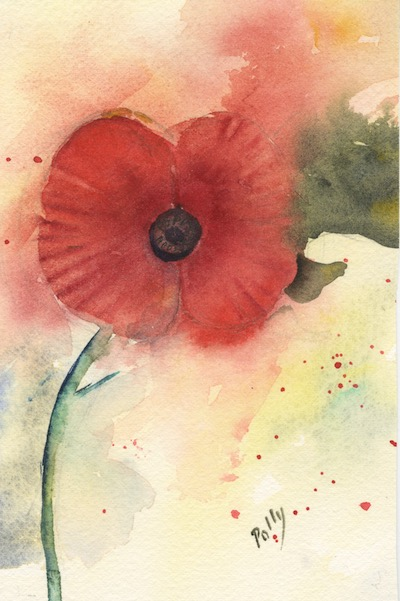 Watercolour painting. POB019 - Remembrance Day Poppy Artist: Polly Birchall