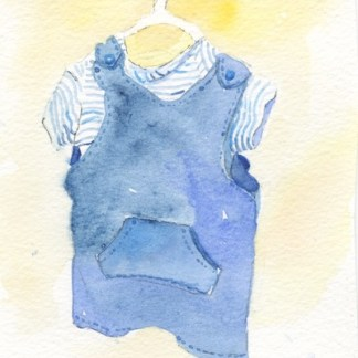 Watercolour painting. POB023 Shopping for a little one. Artist: Polly Birchall