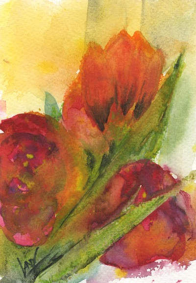 Watercolour painting. Tulip and Roses. Artist: Vandy Massey